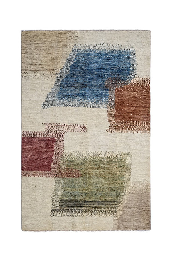 Hand knotted 9'77x6'46 Feet Modern  Art Deco Wool Rug Gabbeh Abstract Carpet